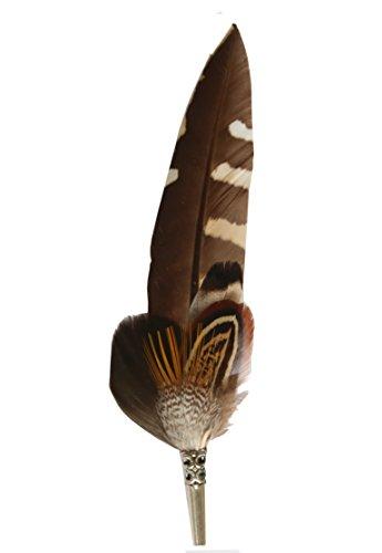 Echte Hutfeder | Hutanstecker | Fasanfeder– vom Ente, Fasan, Goldfasan - Handgemacht - Accessoir für den Trachtenhut – Inkl. Hülse – 16 x 3 cm