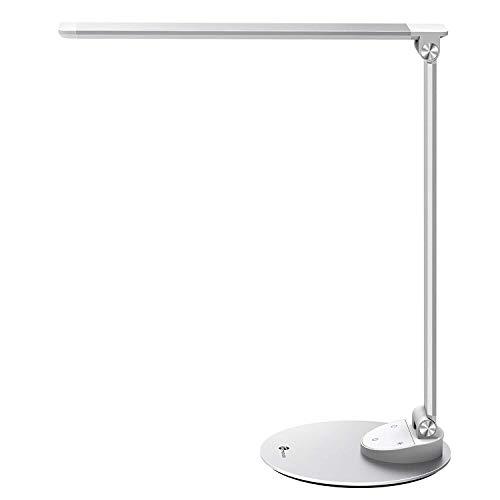 TaoTronics Lampe de Bureau Métal LED Ultra-mince Fonction Mémoire Anti-éblouissement Aluminium Tactile 5 Températures de Couleur et 5 Niveaux de Luminosité, USB Port Female pour Recharger Smartphones