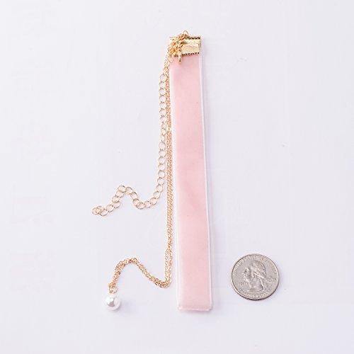 Jane Stone Damen Halskette Velvet Choker 2 reihig Metall Gliederkette mit Perle Anhänger Choker-Kette aus Zierperle Samt und Metalllegierung - 3