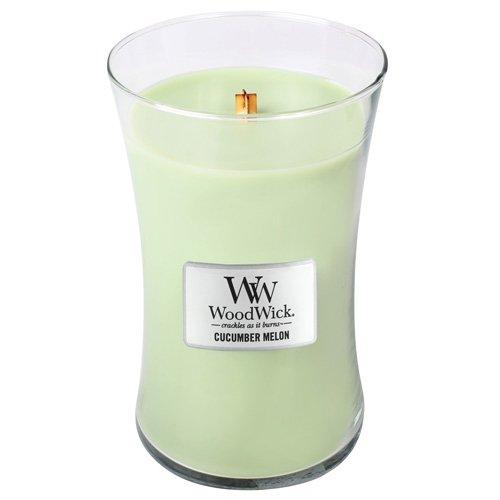 Frische Gurke Melone Kerze (Woodwick Gurke und Melone große Duftkerze Classic im Glas mit Holzdeckel 609.5 g, grün, 10.3 x 10.3 x 17.5 cm)