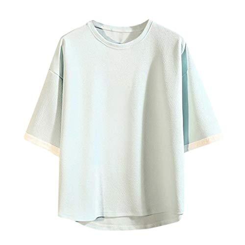 AmyGline Herren T Shirt Top Neu-Männer Casual Japanisches Lose Groß Größe Kurzarm Hip Hop T-Shirt Bluse Kurzarmshirt Sweatshirt Pullover Poloshirt Hemd