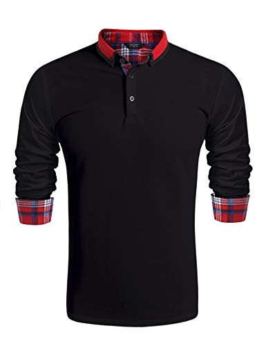 Burlady Herren Poloshirt Langarm Einfarbig Freizeit Polo Kragen Plaid spleißen Polohemd Slim fit Men's Polo Shirt -