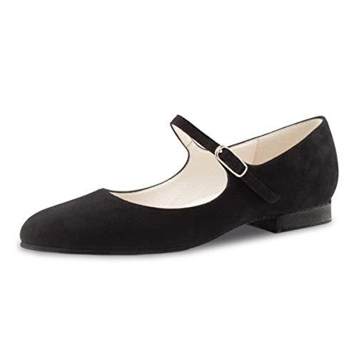 Werner Kern - Damen Tanzschuhe/Ballerinas Vega - Veloursleder Schwarz - 1,5 cm Micro-Heel [UK 5,5]