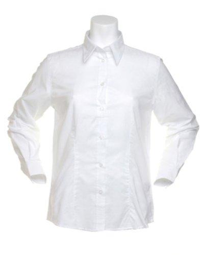 Kustom Kit Damen Pinpoint L/S SHIRT Weiß - Weiß