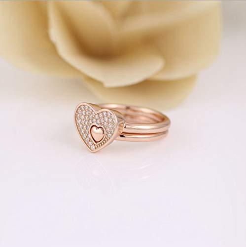 YOYOYAYA Ring 925 Sterling Silber Schmuck Herz Set Puzzle Exquisite Dating Einfachheit Mädchen Geburtstag Gedenken Geschenk Hochzeit Romance Fantasy, 16.