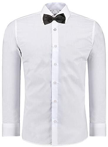 J'S FASHION Herren-Hemd – Slim Fit – Bügelleicht – Business Freizeit Hochzeit Weiß - S - Fliege