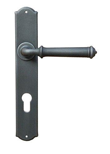 Drückergarnitur Eisen Türbeschlag schwarz Türklinke auf Langschild Modell Romana Antik für Innentüren | PZ 88 mm - Profilzylinder | 1 Set - Türgriffe mit Befestigungsmaterial