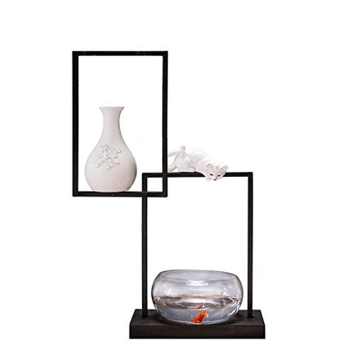 Uncle Sam LI - Kreatives im chinesischen Stil Wohnzimmer Aquarium, Schmiedeeisen Halterung + Glaswaren + Harz Vase, 40 * 51,1 cm (Harz-halterung)
