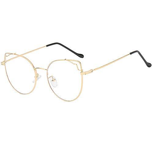 KUDICO Katzenauge Brillen Unisex Metall Frame Klassisches Rahmen Glasses Klare Linse Brille Retro Glasrahmen Ebenenspiegel Dekobrille (B, One Size)