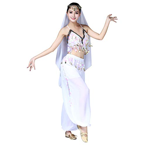Imekis donna costume da danza del ventre bollywood abbigliamento da ballo indiano prestazioni professionali abiti da ballo halloween carnevale suit adulti chiffon top + pantaloni 3 pezzi set bianco