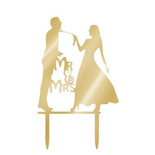 Kakiyi Hochzeitstorte Topper Schwarze Acryl süße Hochzeit Dekoration Mariage Geburtstags-Party Supplies Adult Bevorzugungen