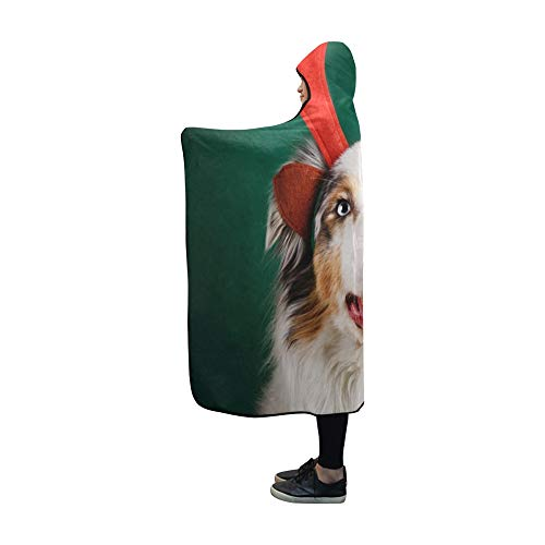 YSJXIM Mit Kapuze Decke Frohe Weihnachten Hund Geweih auf grüne ()