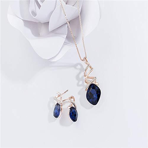 ZGRJIUERYI Damen Halskette,Mode Halsbekleidung Retrokette Anzug Braut Blue Crystal Earrings Ohrringe Schmuck Set 2-Teilig Persönlichkeit Kleidung Accessoires Schmuck