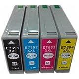 ENCRE BREIZ PACK 4 CARTOUCHES Compatibles Remplace EPSON T7891/T7892/T7893/T7894 - Noir/Cyan/Magenta/Jaune pour imprimante Wo