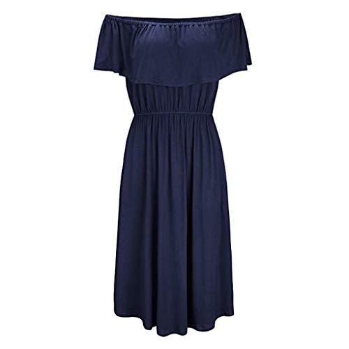 Yuan  Womens Off The Shoulder Rüschen Party Kleider Side Split Beach Maxi-Kleid Einfarbiges Schulterfreies Kleid mit gerafftem Seitenschlitz -
