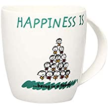 HomeStop Ivy Unisex Round Printed Happiness is a Team Mug_Green_Free Size