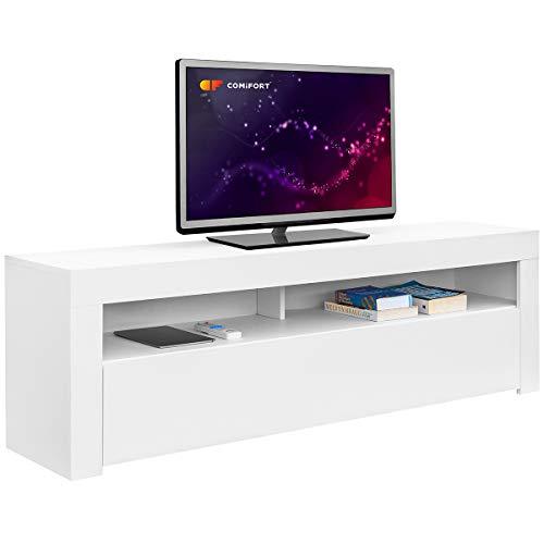 Comifort – Mueble TV Salón Moderno Mesa Televisión, Colores: Blanco, Blanco/Roble, Roble, Medidas: 100x35x49 cm (Blanco)