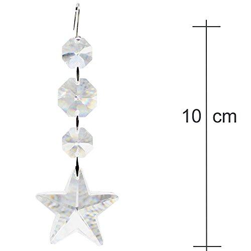 Set di 2 decorazioni per albero di natale, con cristalli di piombo al 30%, da appendere come decorazione per albero di natale o come ciondolo a forma di stella di cristallo arcobaleno, molto brillante
