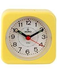 Horo Yellow Plastic Table Radium Alarm Clock 6.4x3x6.4cm