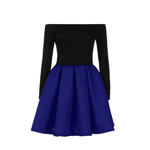 Vestito donna Rcool Sexy Retro Vintage Donne Collo Rotondo Manica Lunga A-line Lace Stitching Trim Casual Vestito, partito, Abito da sera Blu