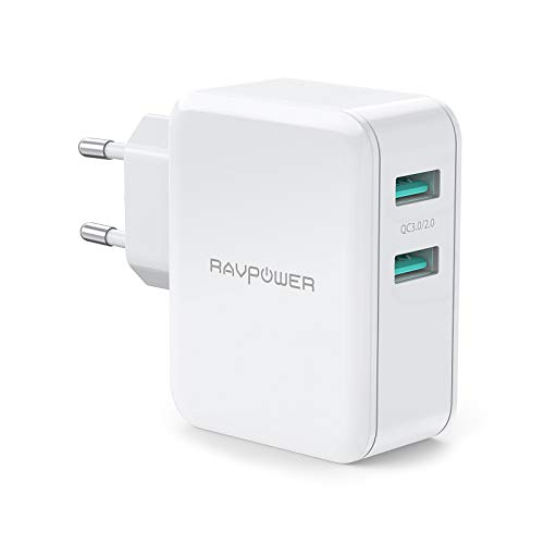 RAVPower USB Schnellladegerät 36W Quick Charge 3.0 Steckdosen Ladegerät 2 Port USB Ladegerät für iPhone XS/XS Max/XR/X/8/8 Plus, iPad Pro Air Mini, Galaxy S9 S8 Note 8, Huawei, HTC usw(Weiß) Air Max Iphone