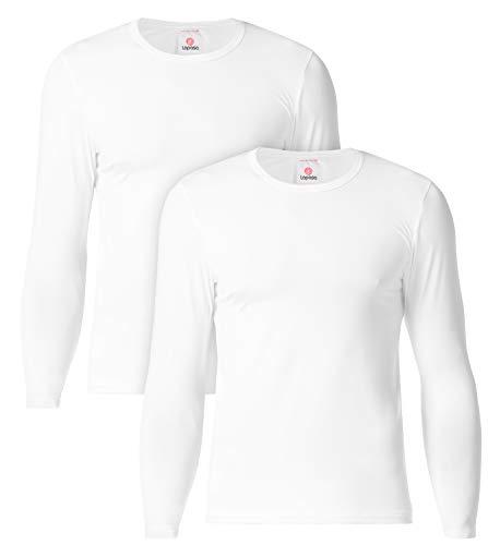 LAPASA Camiseta Térmica, Pack de 2 Manga Larga para Hombre. -Brushed Back Fabric Technique- M09 (M, Blanco)