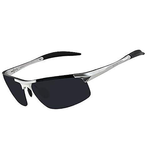 Lunettes de soleil homme Duco - Lunettes de sport polarisées - Lunettes de conduite avec monture en métal Incassable - 100% anti UV400 - 8177S (Lentille Gris/Cadre Argenté)