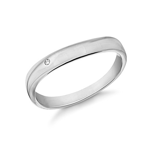 Tuscany Silver Damen Rhodium plattiert Diamant Flush Set Wave Band Ring Sterling Silber 0.01k J