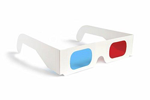 3D-Brillen, für 3D-Filme und Spiele, Rot / Blau, 10 Stück