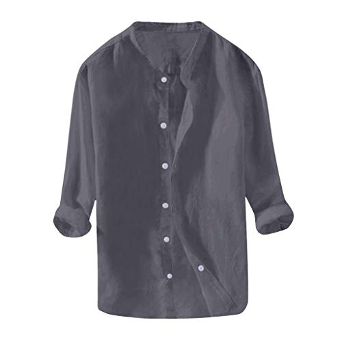 DNOQN Herren Langarmshirt Herren Tops Baggy Baumwolle Leinen Solid Knopf Langarm Retro T Shirts übersteigt Bluse XL