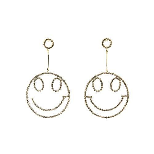 XAFXAL Damen Ohrringe,Mode Für Frauen Ohrringe Ohrringe Gold Farbe Crystal Lächeln Gesichtsform Ohrhänger Elegant Verlobung Hochzeit Schmuck