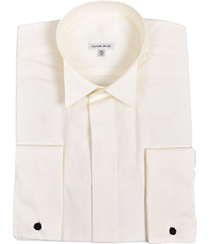 ex branded Mens Milan Double Cuff Formal Shirt Ivory 15L