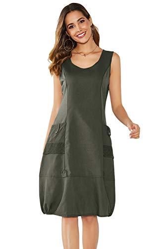 Yidarton Damen Kleider Strand Elegant Casual A-Linie Kleid Ärmellos Sommerkleider (M, Armee Grün)