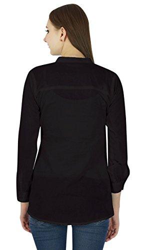 Coton Top Robe Boho Porter Vêtements Robe D'Été Tunique Casual Noir