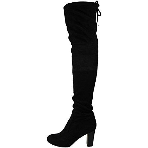 LoudLook New Womens Ladies Block Heel Faux Over The Knee Pull On...