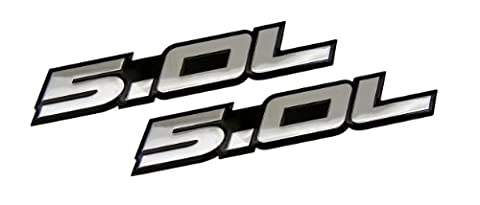 2 x (pair/set) 5.0L Emblems in SILVER on BLACK Highly Polished Aluminum Silver Chrome Engine Swap Badge for Ford Mustang GT F-150 Boss 302 Coyote Cobra GT500 V8 Crown Vic Victoria