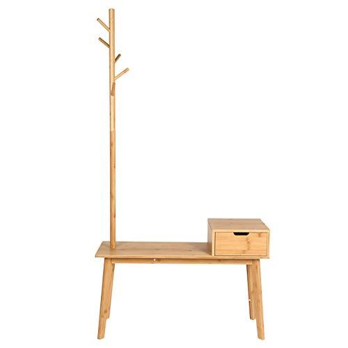 Perchero con banco de zapatos Banco de zapatos de bambú con perchero 5 ganchos y cajones para dormitorio, sala de estar y pasillo