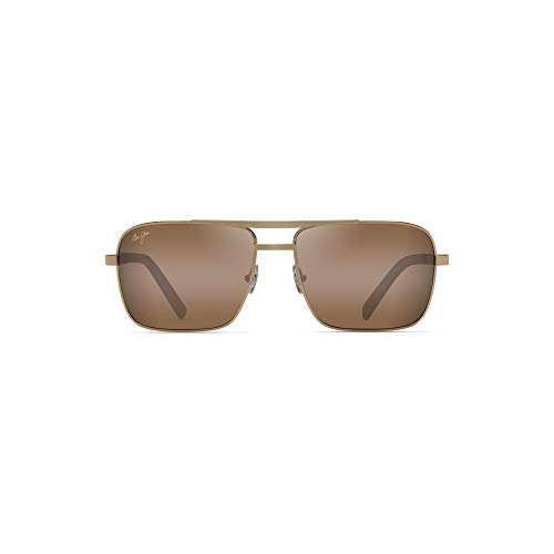 Maui Jim H714-16 Gold Gold Compass Square Pilot Sunglasses Polarised Lens Category 3 Size 60mm