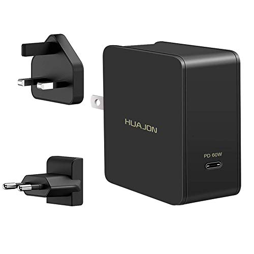 60W USB C PD Ladegerät mit Power Delivery 3.0 Quick Charge 3.0 Typ-C Netzteil für Macbook Pro 13, Mac book, Pixel C / 2 XL, Samsung Galaxy S8 / S8+, Dell XPS, X1 Carbon 2017, HP X360, Huawei Mate 10 / Matebook usw. Schwarz (US / UK / EU Plug)