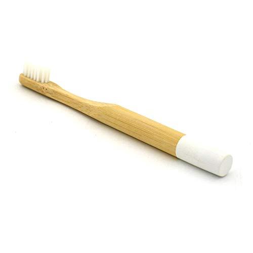 NAttnJf Mango redondo de bambú natural, cerdas suaves de nylon, cepillo de dientes, herramienta de cuidado oral para adultos White