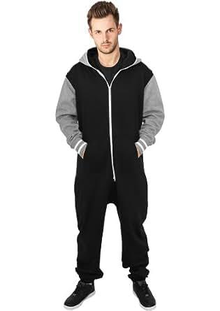 URBAN CLASSICS Herren College Sweat Jumpsuit TB629 black/grey M/L