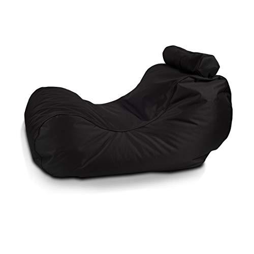 Ecopuf Hogan Chaise Longue Sessel Polyester Sofa Pouf auch für Außenbereich mit Kissen (Empty Pouf) (Schwarz NC14) -