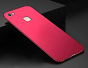 Sunny Fashion All Angle Protection 360 Degree Ultra-Slim Lightweight Matte Hard Case Back Cover for Vivo V7 Plus - (Red)