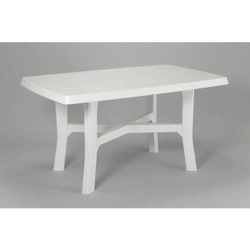 Midland Garden - Table de jardin Rodano, Polypropylène - Couleur : Blanc - Dimensions : 138 x 88 x 72 cm