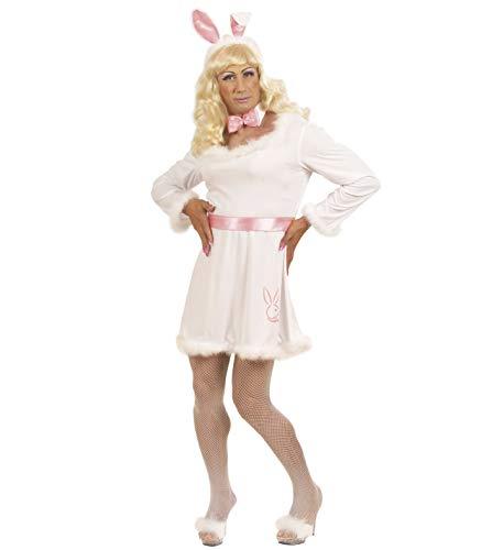 Komplett Kostüm Playboy-Häschen Männer Kleid Fliege Hasenohren Blonde Perücke weiße Fischnetz-Strumpfhose Drag Queen Gr. XL Junggesellenabschied
