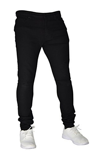 New Herren Stretch Skinny Slim Fit Flex Jeans Hose dehnbar Denim 98% Baumwolle & 2% Stretch Hosen, Skinny, Größe 32W x 32L(40R), Farbe Schwarz -