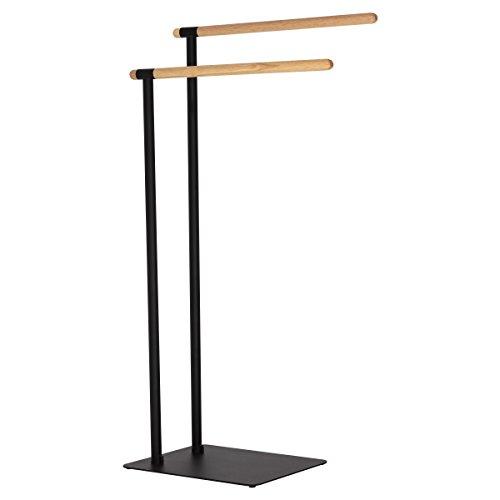 Sealskin Brix Handtuchständer schwarz, Handtuchhalter mit einer stilvollen Kombination aus modernem Metall und natürlichem Holz -