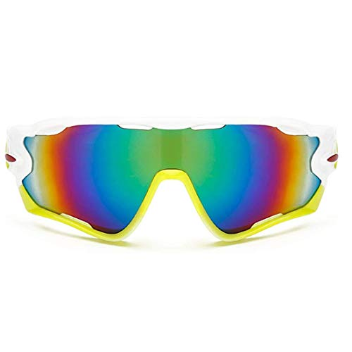 E-CHENG Cycling Eyewear Bike Glasses Bicycle Sports Glasses Hiking Camping Motorcycle Sunglasses Reflective Explosion-Proof Goggles (White Yellow Green)