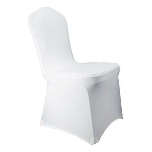 WELMATCH White Spandex Chair Covers Wedding Universal - 10 Pcs Banquet Wedding Party Dining Decoration (White, 10)