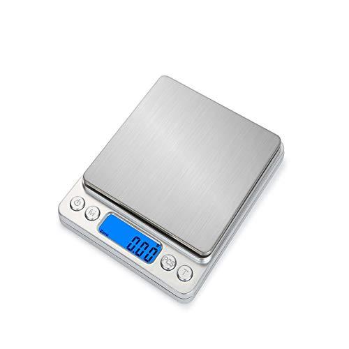 Jiobapiongxin HT-I200 Tragbare Küchen-Digitalwaage Edelstahl Elektronische LCD-Anzeige Lebensmittelwaagen Schmuckwaage 2000 g x 0,1 g JBP-X